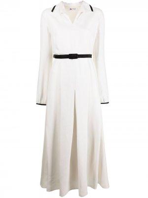 Платье-рубашка длины миди с поясом Ports 1961. Цвет: белый