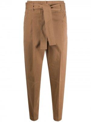 Укороченные брюки с завязками Peserico. Цвет: коричневый