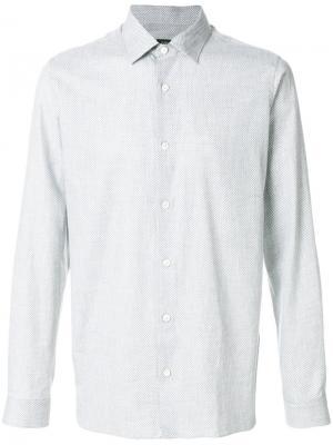 Классическая рубашка с мелким узором Z Zegna. Цвет: серый