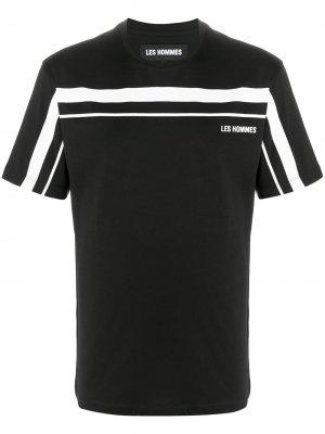 Футболка с короткими рукавами и логотипом Les Hommes. Цвет: черный