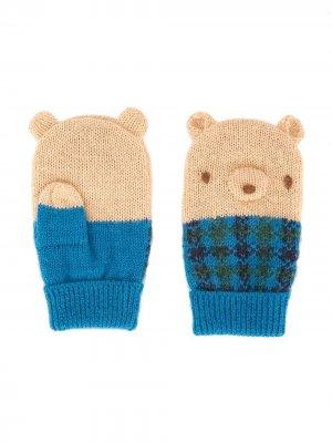 Митенки с деталями в форме медведя Familiar. Цвет: синий