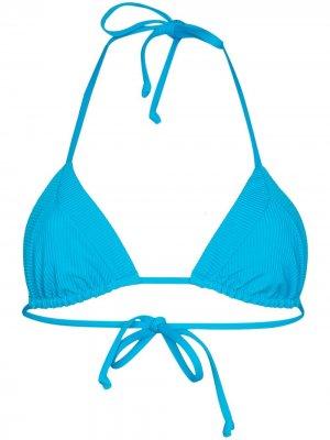 Лиф бикини Sky с треугольными чашками в рубчик Frankies Bikinis. Цвет: синий