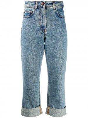 Укороченные джинсы с завышенной талией Philosophy Di Lorenzo Serafini. Цвет: синий