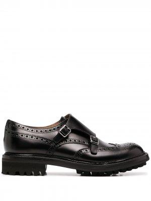Churchs монки на низком каблуке Church's. Цвет: черный