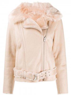 Байкерская куртка из шерпы Patrizia Pepe. Цвет: розовый