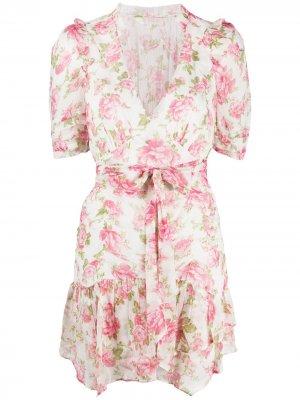 Платье мини Arlo с завязками LoveShackFancy. Цвет: розовый