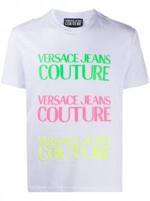 Футболка с круглым вырезом и логотипом Versace Jeans Couture. Цвет: белый