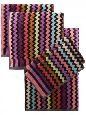 Набор из пяти полотенец Missoni Home. Цвет: черный