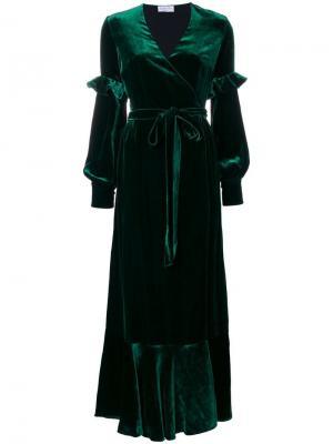 Длинное вечернее платье Raquel Diniz. Цвет: зеленый