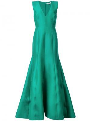 Приталенное вечернее платье с расклешенной юбкой Halston Heritage. Цвет: зеленый