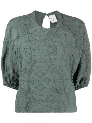 Фактурная блузка с пышными рукавами Alysi. Цвет: зеленый