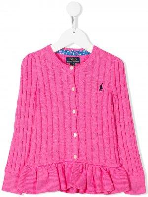 Кардиган вязки с косами Ralph Lauren Kids. Цвет: розовый