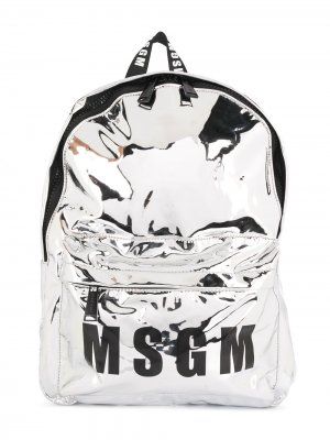 Рюкзак с логотипом и эффектом металлик Msgm Kids. Цвет: серебристый
