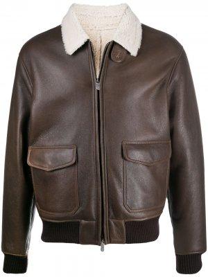 Куртка с воротником из шерпы Eleventy. Цвет: коричневый