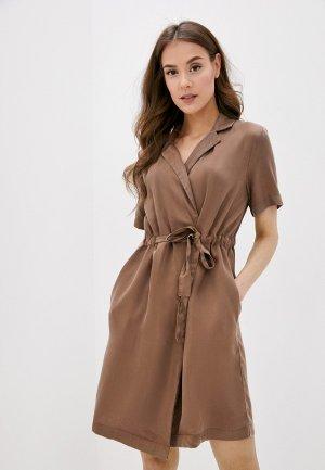Платье Pieces. Цвет: коричневый