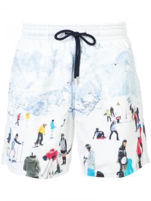 Пляжные шорты с узором Vilebrequin. Цвет: белый