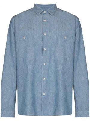 Рубашка из ткани шамбре Sunspel. Цвет: синий