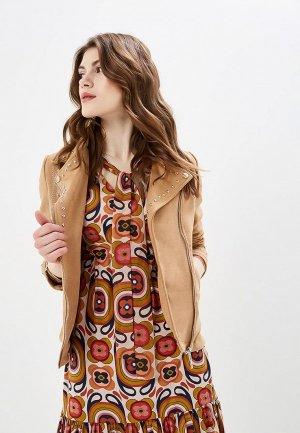 Куртка кожаная Camomilla Italia. Цвет: бежевый