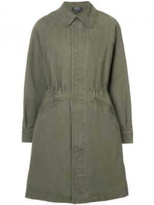 Пальто на молнии A.P.C.. Цвет: зеленый