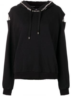 Embellished distressed hoodie Marco Bologna. Цвет: черный
