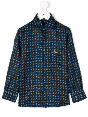 Рубашка с принтом Stefano Ricci Kids. Цвет: синий