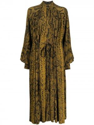 Платье-рубашка со змеиным принтом Proenza Schouler. Цвет: коричневый