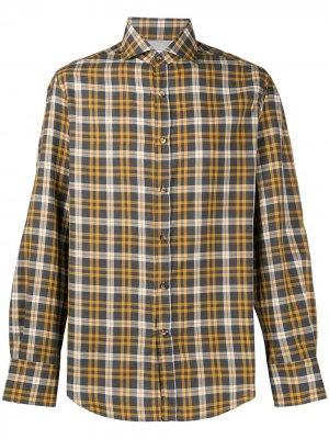 Рубашка в клетку Brunello Cucinelli. Цвет: серый
