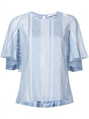 Полосатая блузка с рукавами-кейпом Kimora Lee Simmons. Цвет: синий