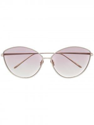 Солнцезащитные очки в оправе кошачий глаз с эффектом градиента Linda Farrow. Цвет: фиолетовый