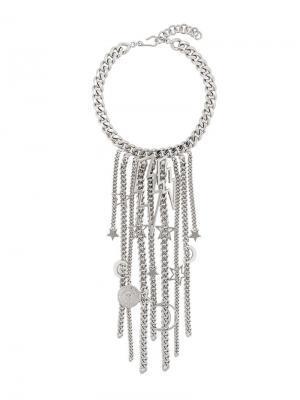Ожерелье с цепочками и подвесками Balmain. Цвет: серебряный