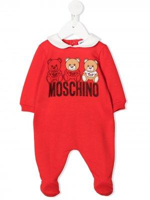 Ромпер с логотипом Moschino Kids. Цвет: красный