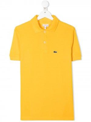 Рубашка поло с вышитым логотипом Lacoste Kids. Цвет: желтый