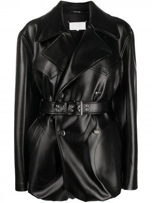 Куртка из искусственной кожи с поясом Maison Margiela. Цвет: черный