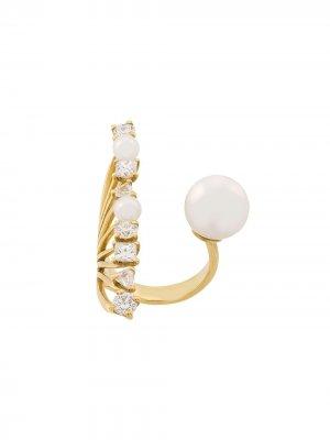 Золотое кольцо Diamond Reef с бриллиантами и жемчугом Акойя Ileana Makri. Цвет: желтый