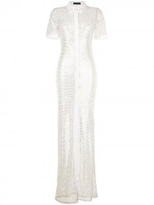Платье-рубашка с кристаллами David Koma. Цвет: белый