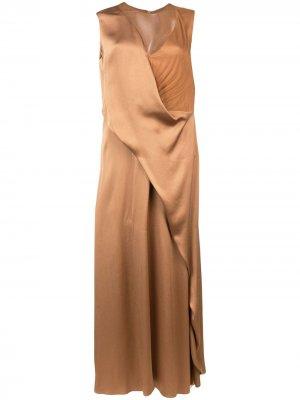 Длинное платье с драпировкой Sies Marjan. Цвет: коричневый