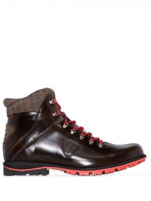 Глянцевые ботинки на шнуровке Rossignol. Цвет: коричневый