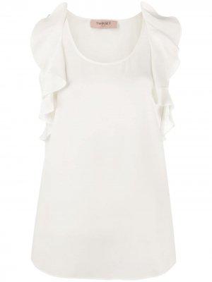 Блузка без рукавов с оборками Twin-Set. Цвет: нейтральные цвета