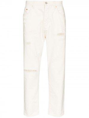 Зауженные джинсы с эффектом потертости Purple Brand. Цвет: белый