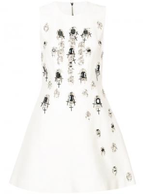 Платье декорированное кристаллами Thomas Wylde. Цвет: белый