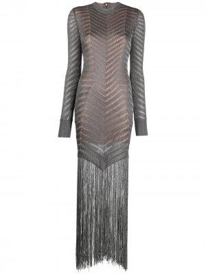 Коктейльное платье с бахромой Hervé Léger. Цвет: серый