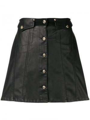 Юбка мини на пуговицах спереди Versace Jeans. Цвет: черный