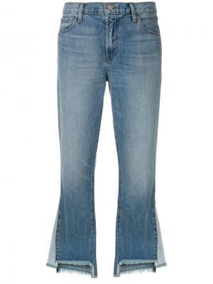 Расклешенные джинсы с необработанным краем J Brand. Цвет: синий