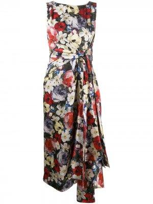 Платье миди с цветочным принтом Erdem. Цвет: черный
