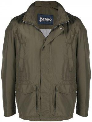 Куртка с капюшоном и карманами Herno. Цвет: зеленый