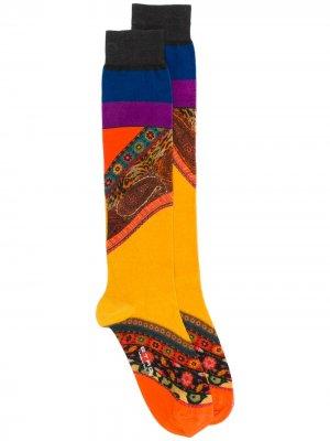 Носки в стиле колор-блок Etro. Цвет: желтый