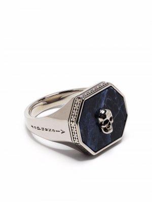 Кольцо с декором Skull Alexander McQueen. Цвет: серебристый