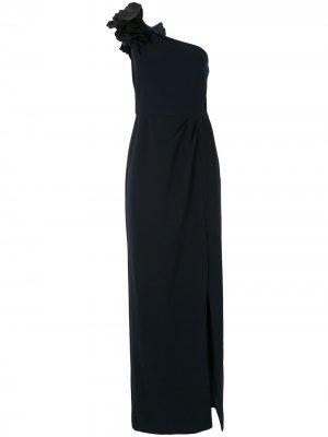 Вечернее платье на одно плечо с цветочным декором Marchesa Notte. Цвет: синий