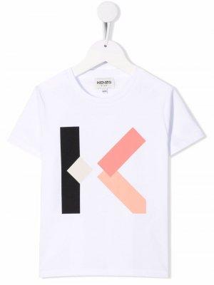 Футболка с логотипом Kenzo Kids. Цвет: белый