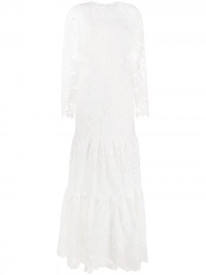 Кружевное ярусное платье Self-Portrait. Цвет: белый